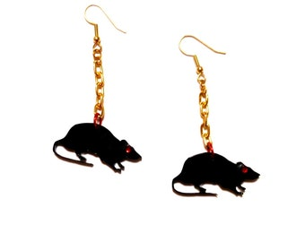 Black RAT in a CAGE Acrylic Earrings with Red Rhinestone Eyes -- Attached to Gold chain and Earring Hooks