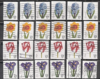 24 SPRING FLOWERS Used & Cancelled 37c U.S. Postage Stamps (6 each of the 4 Flowers) Hyacinth, Daffodil, Tulip and Iris)