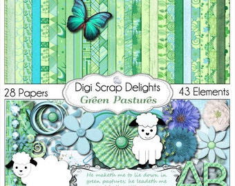 Green Pastures Digital Bible Journal Kit in Blue and Green with Sheep or Lamb Clip Art, Instant Download
