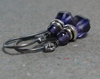 Fluorite Earrings Striped Purple Fluorite Amethyst Oxidized Sterling Silver Earrings