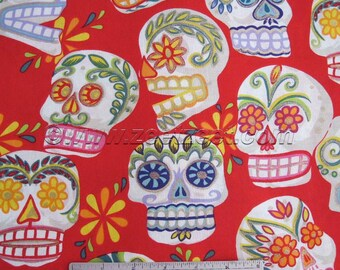CALAVERAS Red Alexander Henry Big SUGAR SKULLS Cotton Quilt Fabric - by the Yard - Day of the Dead