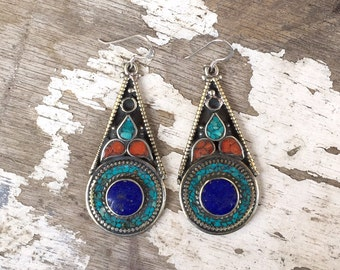 Boho Turquoise Earrings, Nepalese Earrings , Tibetan Earrings , Turquoise Lapis Coral Earrings