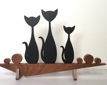 1007-1- Mid Century Modern Cats Sculputure