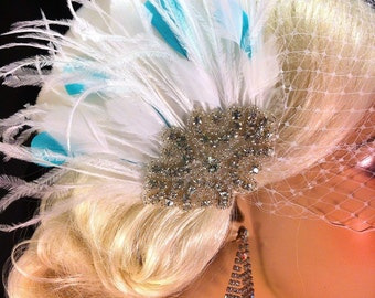 Fascinator, Wedding Accessories, Bridal Accessories, White or Ivory Fascinator with Something Blue, Bridal Fascinator,  Bridal Veil