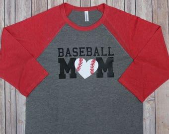 Baseball Mom Shirt with Baseball Heart, Baseball Mom Shirts, Shirts for baseball moms, MOM Baseball Shirt, Baseball Mom, Mom baseball