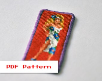 Cross Stitch PDF Pattern - Zanthia on the Center of the Earth - Legend of Kyrandia - Modern Embroidery - Vintage Video Game - Pixel Art
