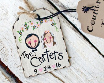 Rustic Wedding Ornament, Personalized Wedding Gift Tag, Christmas Ornament, Rustic Wedding Decor, Marriage Gift Tag, Cottage Chic Wedding