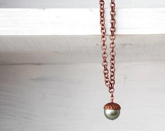 Acorn Necklace Woodland pastel green copper - FALL EN TREASURES Ed4 Swarovski crystal pearl rustic wedding Etsy Uk