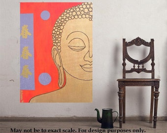 """Buddha 12... original painting, 11.8x15.7""""/30 x 40 cm, acrylic, collage, canvas, religion, asia, culture, tradition"""