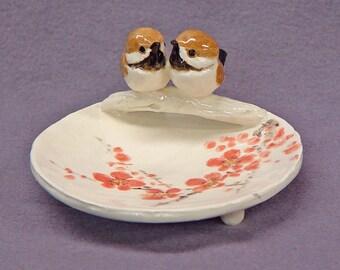Handmade Ceramic Trinket Dish with Love Birds - Ring Holder, Jewelry Holder, Love Birds, Wedding Gift  Anniversary Gift  Romantic Art
