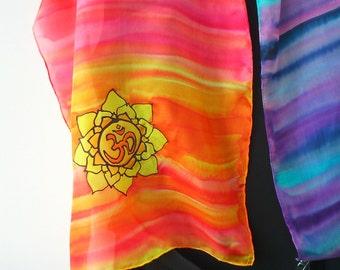 Om Mandala Hand Painted Silk Scarf. OM Mandala Wall Art, Yoga Wear, Meditation Scarf, Aum Scarf. 14x 51 inch  Scarf. Ohm/ Yoga/ Meditation