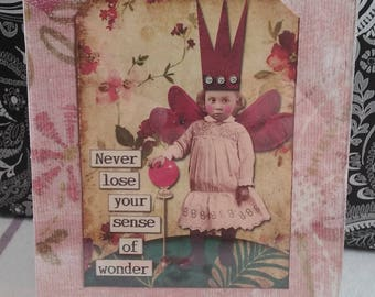 "Altered frame 3.5x5"" fairy never lose your sense of wonder accented with burgandy tulle"