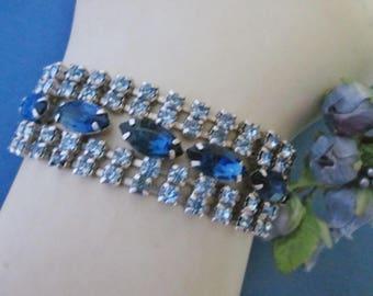 Vintage Rhinestone Bracelet blue rhinestone bracelet