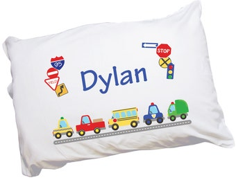 Boys Personalized Pillow Case Cars & Trucks Custom Pillowcase for Toddler Boy Bed Cot Crib Transportation Bedding Car Truck Bus Taxi PILC223