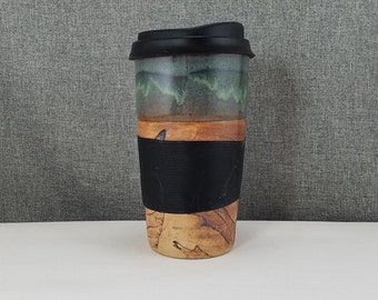 IN STOCK*Ceramic Travel mug / Commuter mug with silicone lid - Leafs / Olive Blue