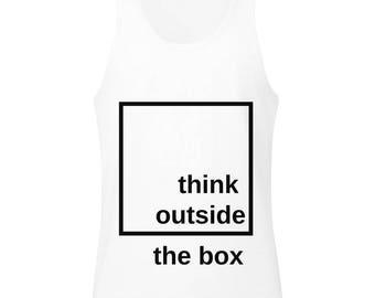 Think Outside The Box Black Square Design Men's Tank Top Shirt
