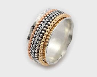 CZ Fidget Ring, Spinner fidget, Fidget Spinner, Tri color ring, Multi color spinner ring, Silver and gold Spinner Ring, Meditation Ring,