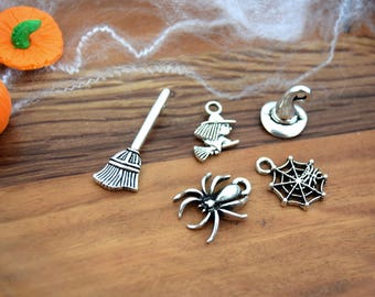 5 halloween witch broom Halloween silver B55 spider Hat charms