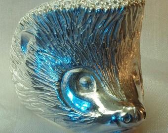 Hedgehog ring, handmade, sterling silver, heavy
