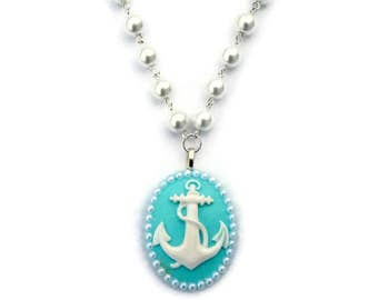 Anchor Cameo Necklace in Aqua and White, White Pearl Beaded, Nautical, Rockabilly, Vintage Inspired
