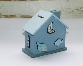 Money box, maritime savings House, Money Box, Maritim, Home, lighthouse, sailboat, clam, fish
