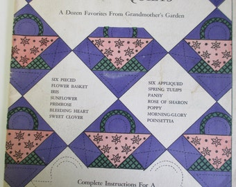 "Vintage Craft Booklet of "" Flower Quilts from gramother's Garden'""   How to booklet    used 23 pages"