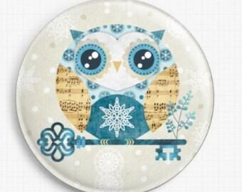 Owl Needle Minder, Licensed Art, Buho Winter Owl, Sandra Vargas, Cross Stitch Keeper, Fridge Magnet