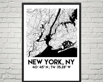 New York Map Poster 18 x 24 (Digital)
