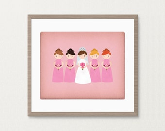 Customized Bride and Bridesmaids - 8 x 10 Print