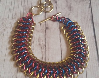 Wonder Woman inspired Crotalus weave chainmaille bracelet