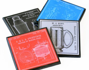 Coaster Set, Patent Art Barware Wood Drink Coasters, Man Cave Bar Decor, Hostess Gift, Set of Four, Housewarming, Gift for Men