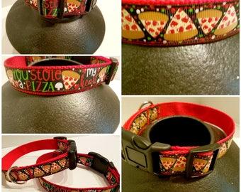 Pizza - Dog collar, Leash, Dog lover gift, Gift for pizza lover, Pepperoni dog collar, Pepperoni pizza dog collar
