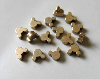 100pcs Raw Brass Mickey Mouse Beads, Charms 5.5mm - F539