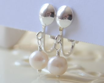 Clip On Earrings, Freshwater Pearl, Sterling Silver, Child Flower Girl Jewelry, June Birthstone