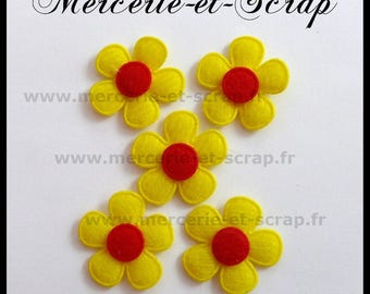 LOT 5 flowers yellow 25mm 90 red felt heart embellishment