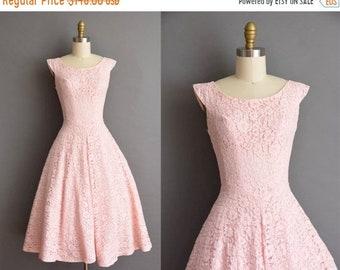 25% OFF SHOP SALE..//.. 50s vintage dress. 50s pink cotton candy lace full skirt vintage party dress