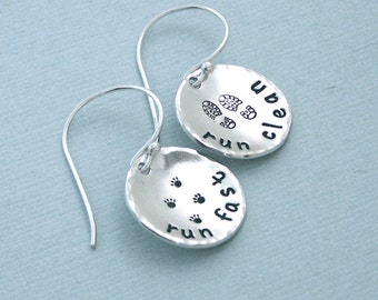 Dog Agility Earrings - Run Fast Run Clean Sterling Silver Dog Agility Gift