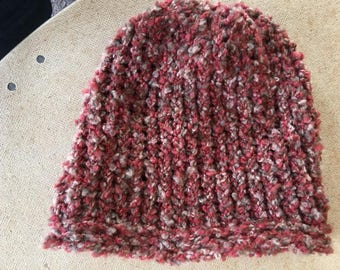 Fuzzy Red and Brown Knit Hat
