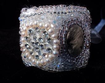 BoHo Cuff Bracelet Crystals Pearls Cameos Pink Pearls Victorian Bracelet