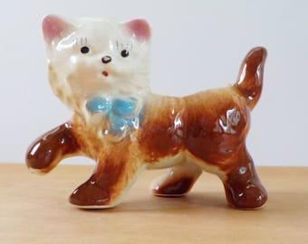 Vintage Cat Planter • Vintage Whimsical Kitten Planter with Blue Bow