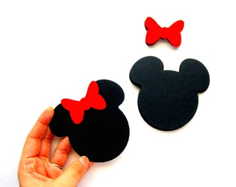 50  Minnie Mouse die cut ( 2.5 inches) in black with RED bow  A394