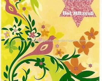 Bat Mitzvah Floral and Bird Jewish Note Card