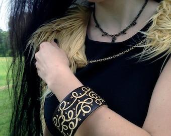 Celtic Vine Bracelet Wood Burned Bangle Leaf Jewelry