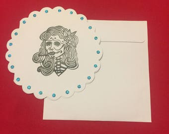 Round catrina Sugar skull Skeleton Hand stamped Card Set