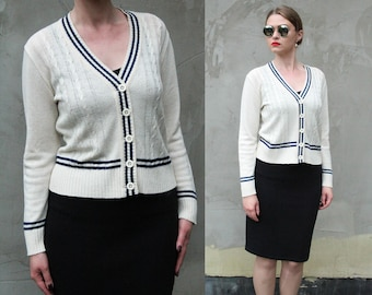 80s Vintage White Nautical Cardigan, Cable Knit Sweater, White Women Cardigan, Vintage Women Sweater, Vintage Knitwear, 80s Sweater Clothing