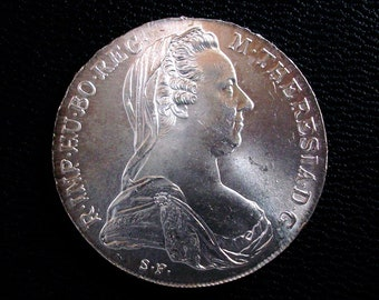 1780 SF Austria Maria Theresa Thaler Re-strike - Silver Coin - AU or Better - Combined Shipping Deals!