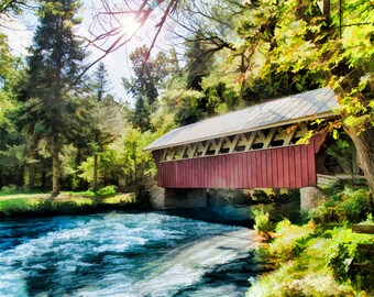 Covered Bridge at Red Mill, Home Decor, Large Wall Art Print, Fine Art Photography, Landscape, Waupaca, Wisconsin