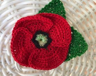 Crochet Red Poppy Flower Brooch Red Poppy Pin Veterans Day Poppy Brooch Remembrance Day Poppy  Cotton Brooch 2nd anniversary gift Hairpiece
