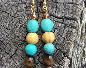 Turquoise, Tiger Eye, crystal & wood dangle earrings