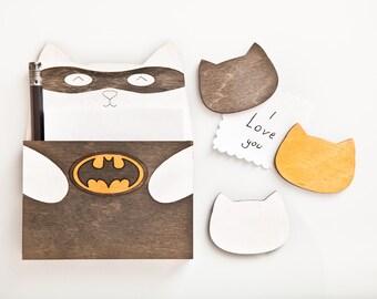 Batman Fridge Magnets, Black Cat To Do List, Cute Shopping List Holder, Halloween Gift, Super Hero Cat, Baby Shower Gift for Her